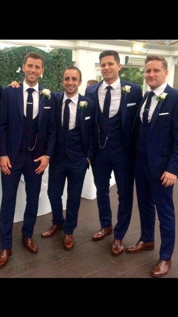 2017 Latest Coat Pant Designs Navy Blue Wedding Suits For Men Tuxedo Slim Fit 3 Piece