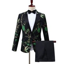 AHBLAZER Green Jacquard Embroidery Floral Birds Pattern Suits For Men Wedding Grooms Bridegroom Suit Slim Fit Singer Costume(China)