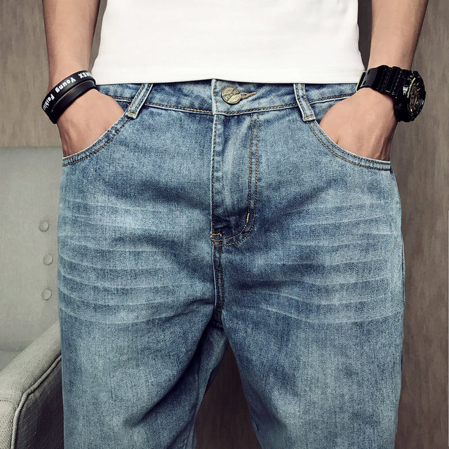 Tsingyi Do old Washing Blue Discolor Denim Jean Men Homme Casual Straight Pants Low Waist Jeans Mens Trousers Plus Size 28-42