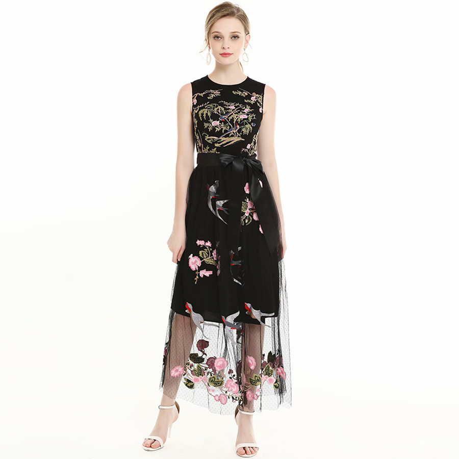 VERDEJULIAY Vintage Runway Dresses 2019 Summer FashionSleeveless Peace Pigeon Flower Luxury Embroidery Mesh Black Long Dress-in Dresses from Women's Clothing    1