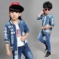 2017 nova marca crianças jean terno qualidade da moda 5 6 7 8 9 anos de idade as crianças conjuntos de roupas de moda menino e menina jean varejo