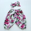 Inverno do outono do verão do bebê meninas harem pants calças pantalon calças pp matched headband boutique do bebê conjuntos de roupas para o bebê meninas