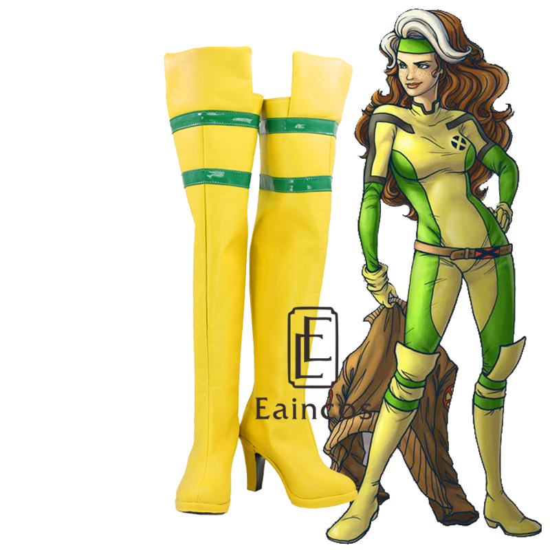 Movie X Men New Rogue Anna Marie Gambit Yellow Boots Cosplay Party Custom Made Shoes