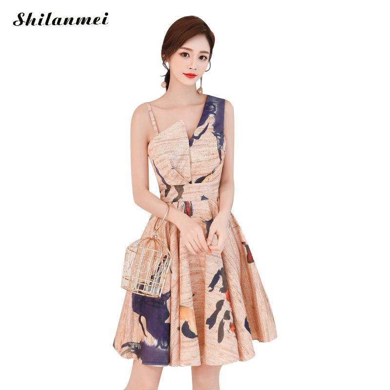 4905f315f51c Spalla Bicchierino Off One Stampato Nuova Modo Partito Sera Elegante Vestiti  Dell annata Streetwear Del Abiti Donna Vestito Di ...