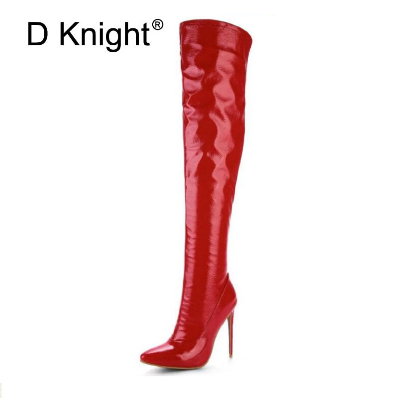 Sexy Steel Pipe Dance Boots Plus Size 33-48 Patent Leather Over The Knee Boots Fashion Side Zip Platform High Heels Shoes WomanSexy Steel Pipe Dance Boots Plus Size 33-48 Patent Leather Over The Knee Boots Fashion Side Zip Platform High Heels Shoes Woman