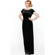 Bodenlangen Schwarzen Samt Abendkleid Mit Kurzen Ärmeln Veloursamt Modest Frauen Formales Kleid Benutzerdefinierte Größe