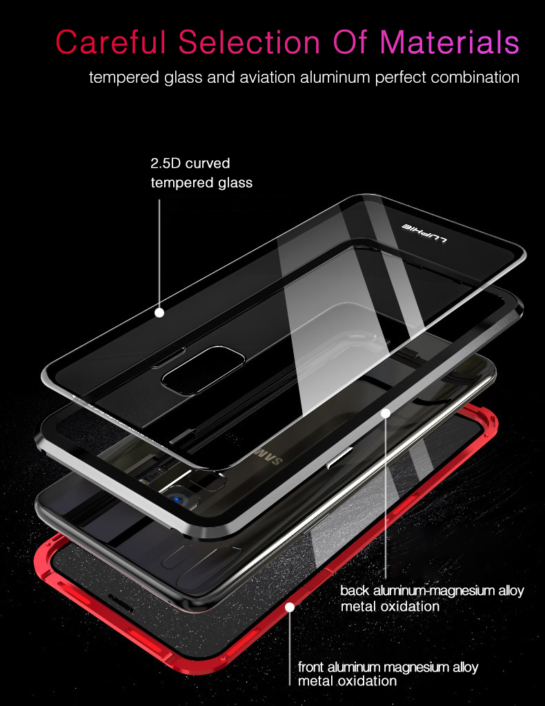 LUPHIE 360 Degree Full Magnetic Case For Samsung Galaxy S9 Plus Note 9 Glass Case (7)