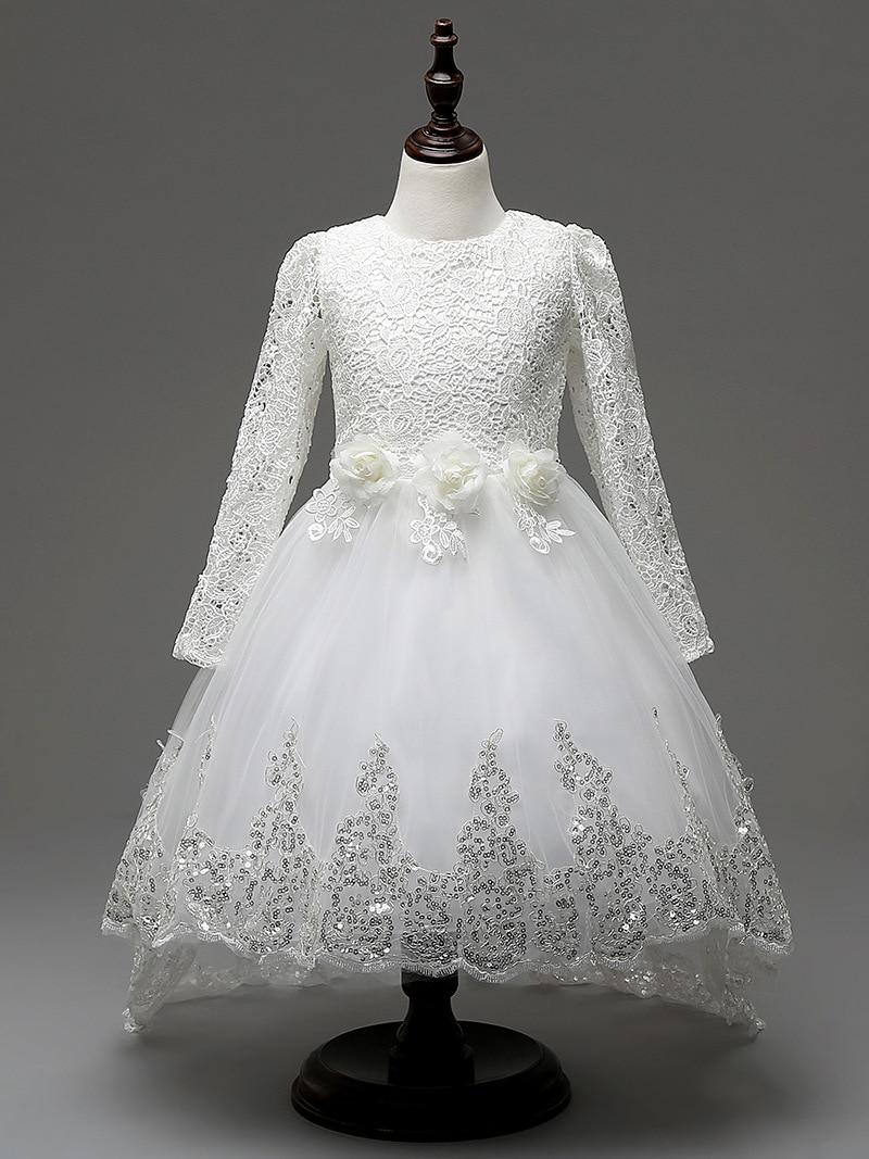 Flower Girl Tutu Dress Kids Sequins Princess Party Wedding Bridesmaid Lace Gown