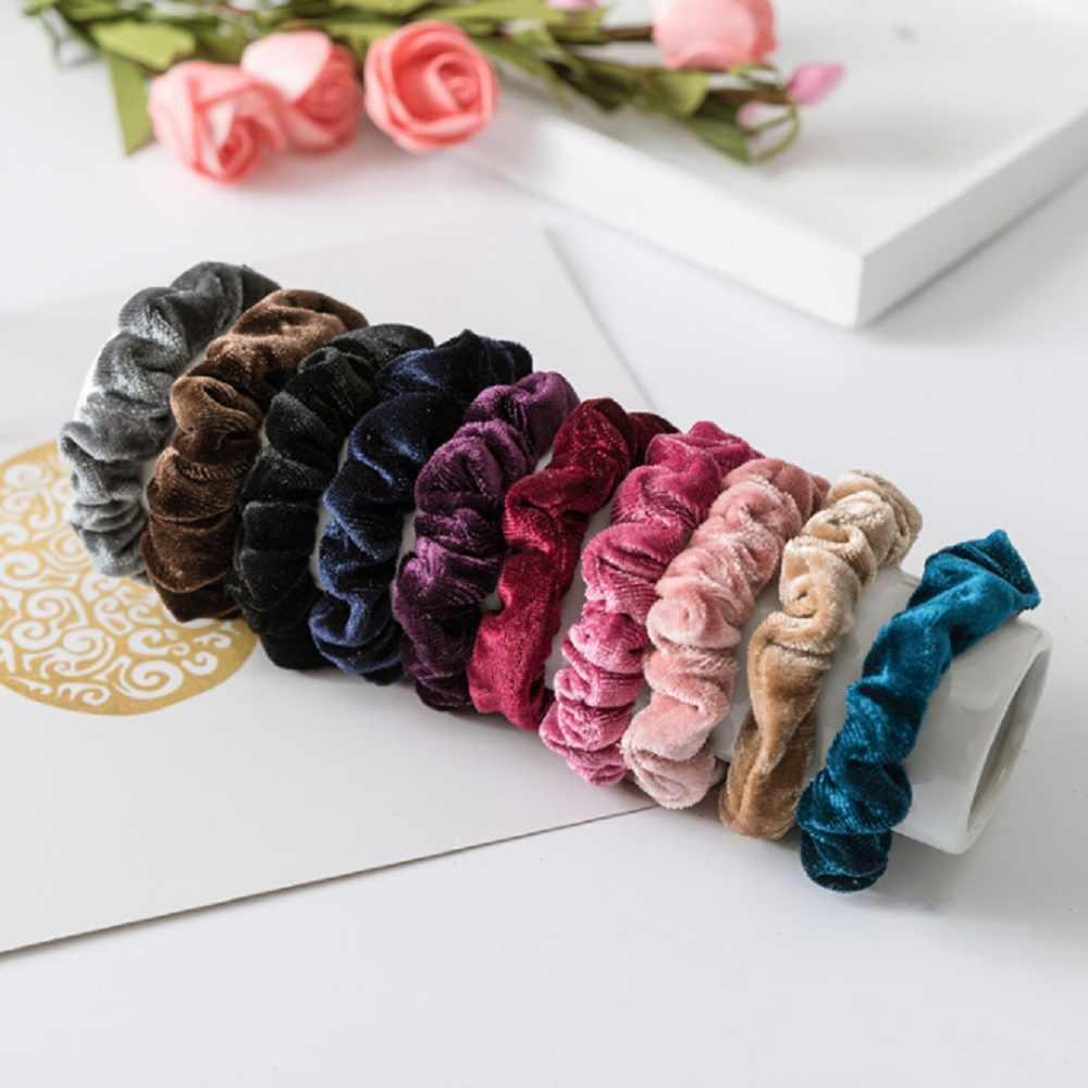 1pc nowy mody luksusowe miękki aksamit włosów Scrunchie kucyk Donut Grip Loop Holder rozciągliwy pasma włosów dla kobiet
