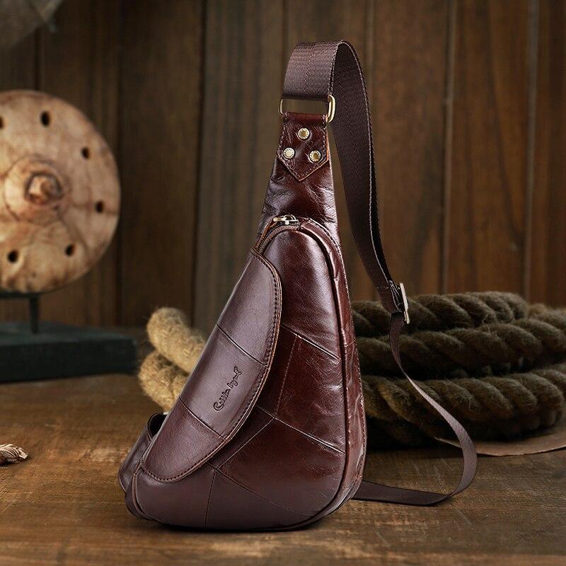 Cobbler Legend 2019 sac de poitrine en cuir de vachette décontracté en cuir véritable grand Style angleterre sac Mobile pour hommes sacs de messager pour hommes 1205086-1