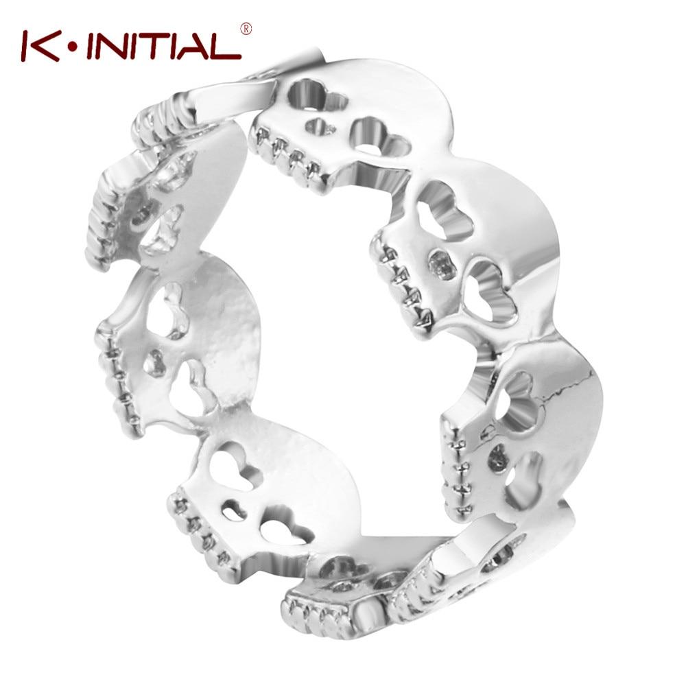 Kinitial Heart Skull Rings for Women Skeleton Ring Boho Wrap Rings Women Skull Rings Boho Chic Men Couple Jewelry anillos