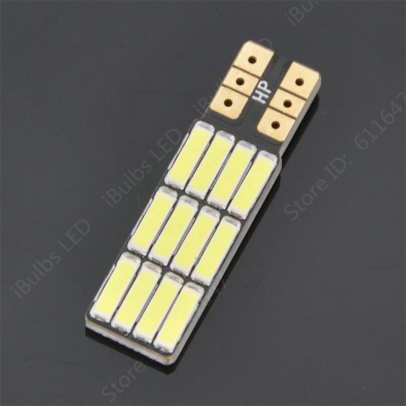 2PCS High Quality T10 W5W 12 LEDs No Electrode 194 501 Auto 7020 SMD Car Interior lights Clearance Lights Wedge Light DC 12V 10pcs high quality t10 w5w 6 leds 194 501 auto 5630 smd car interior lights clearance lamp wedge light dc 12v lens