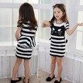 Chica nueva moda de algodón del bebé de la princesa cat cartoon girls casual ropa rayas vestidos flacos