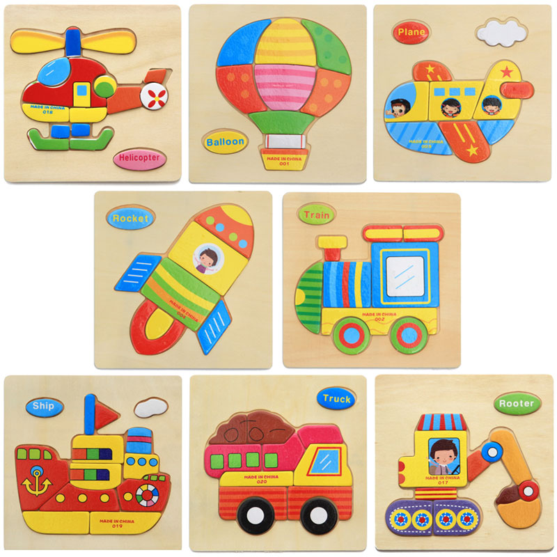Wooden Cartoon Helicopter Blocks Toddler Baby Kids Educational Toy Puzzle