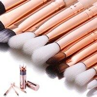 DE LANCI 12PCS Complete Eye Makeup Brush Set Eyeshadow Eyeliner Blending Pencil Makeup Brushes Rose Golden