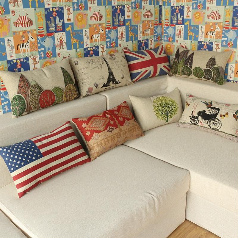 Maiyubo American Flag Throw Pillow Cover Luxury Home Decorative Waist Pillow Case Car Chair Seat Cushion Cover 30*50cm PC552