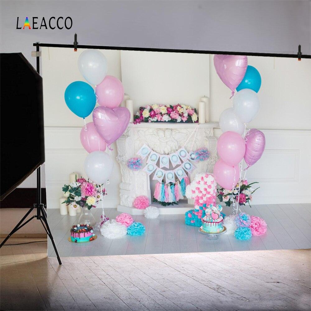Laeacco růžové balónky Baby narozeninové krbové dorty květiny - Videokamery a fotoaparáty - Fotografie 2