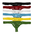 6PCS/Lot New Designer Sexy Big Mesh Men's Underwear Hollow Out Hot Men Thong T-Back Black Red White Yellow Green Blue 6 Colors