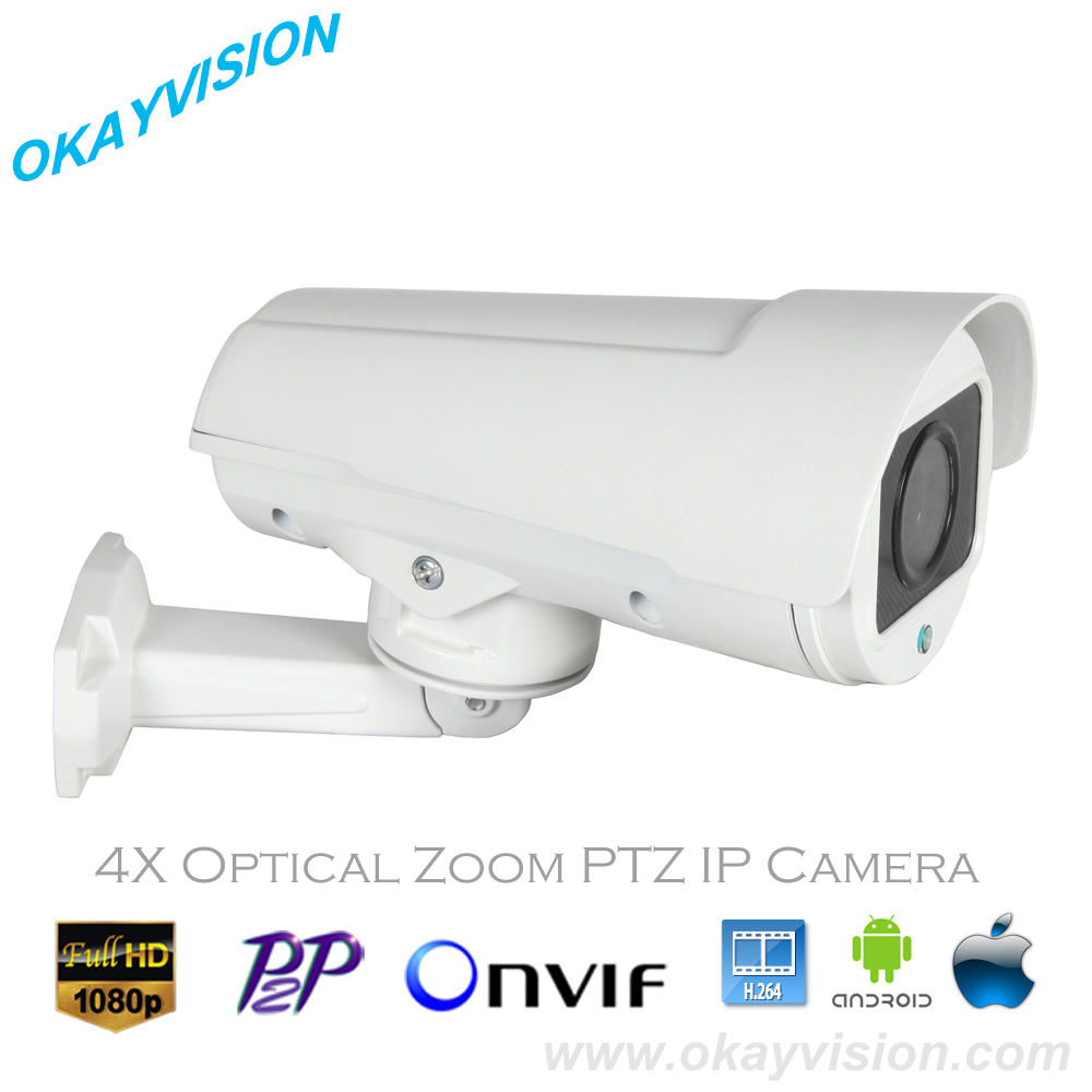 PTZ Bullet Camera 4X Motorized Zoom 2.8-12mm Lens Full HD 1080P 2.0MP IP Color IR PTZ Bullet Camera with 4PCS Array Leds IR 50M bullet camera tube camera headset holder with varied size in diameter