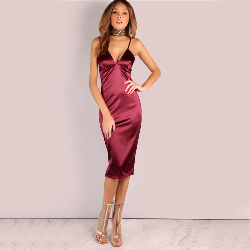 7ef6621a5f33 Backless Deep V Neck Silk Satin Evening Party Halter Dress Women slim Sexy  Slip Mini Bodycon wine red Club Sling dresses-in Dresses from Women's  Clothing on ...
