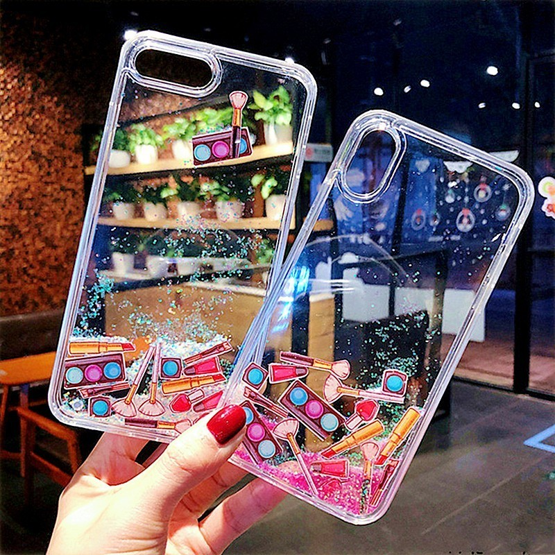Liquid Quicksand Phone Case For iPhone XS Max XR 7 8 Plus Hard Plastic Dynamic Makeups Lipstick Foundation Cover