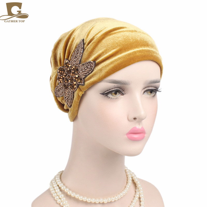 New fashion Women 39 s Elegant Soft Velvet turban beanie with beaded flower hat Chemo Cap Liner For Cancer Hair Loss Ladies in Women 39 s Hair Accessories from Apparel Accessories