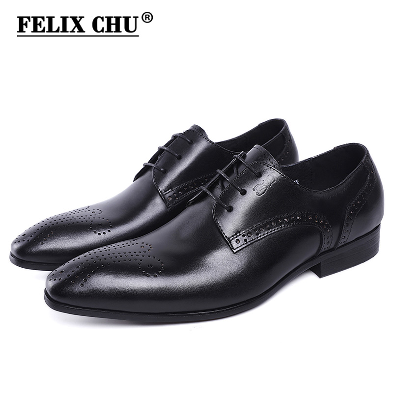 FELIX CHU Men's Dress Shoes Black Brown Luxury Designer Pointed Toe Genuine Leather Lace Up Office Wedding Party Derby Shoes felix chu luxury mens dress shoes genuine leather pointed toe brogue derby shoes green black male lace up formal shoes leather