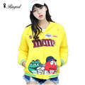 2017 Spring Autumn Jackets Women Casual Hoodies Cotton Sportswear Coat Hooded Long-sleeve Cartoon Print Jacket Plus Size Outwear