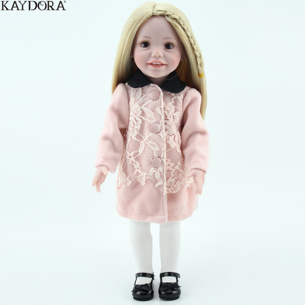 KAYDORA Fashion Girl Doll Soft Silicone 18 inch Winter Warm Blonde Long Hair Smile Girls Doll