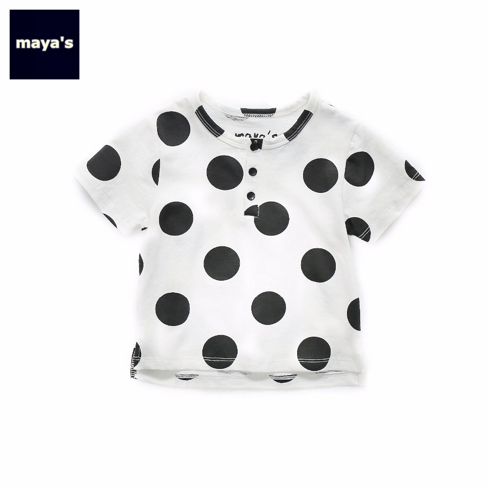 Mayas Camouflage Summer Children Tops Girls Dots Printed Fashion Tees Cotton Family Clothing Matching Shirts Free