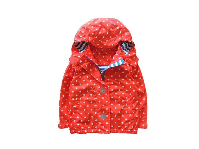 Девушки красный горошек Куртки детские куртки 2017 кардиган С Капюшоном Маленькая девочка большой ребенок ребенок отдых Водонепроницаемый ветрозащитный 2017