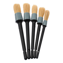 5pcs/set 19cm/20cm/22cm/23cm/24cm Car Detailing Brushes Soft Natural Boar Hair Cleaning Brush For Dash Trim Engine Wheel