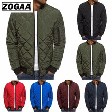 ZOGAA Men Autumn Casual Plaid Parkas Cotton-padded Jacket Solid Zipper Puffer Mens Winter Jackets and Coats 6 colors