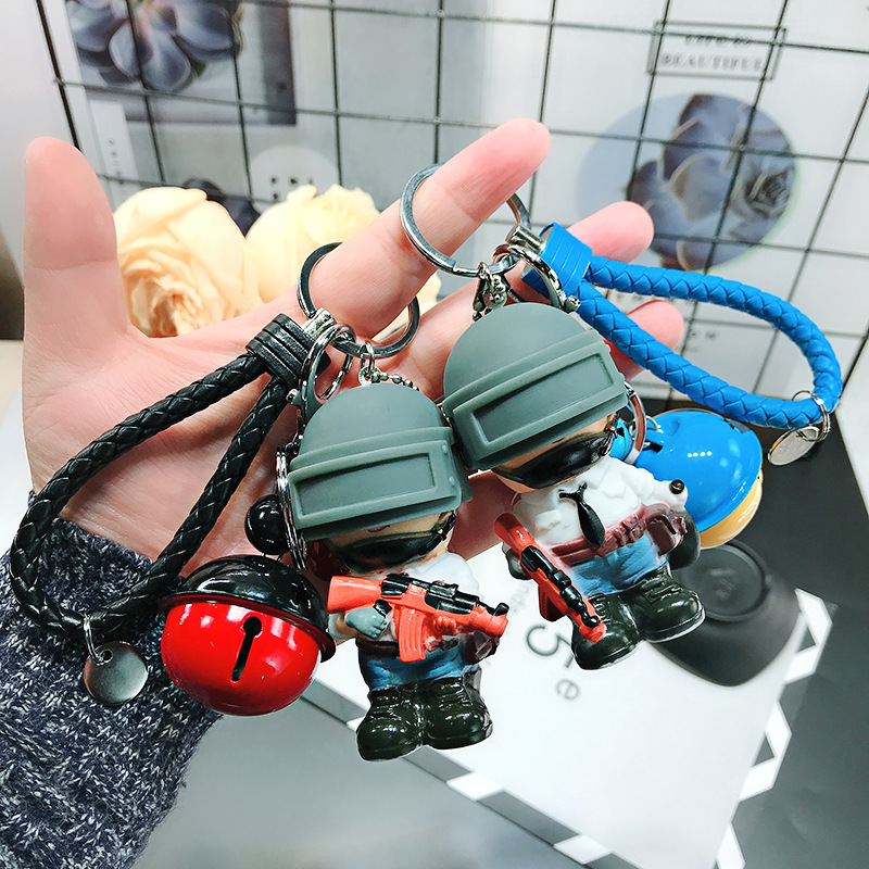 PUBG Car Key Ring Pendant Three-level Helmet Personality 98k Bag Hanging Ornaments Gifts Custom Keychain