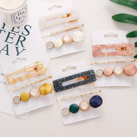 New 3PCS/Set Fashion Pearls Acetate Geometric Hair Clips For Women Girls Headband Sweet Hairpins Barrettes Hair Accessories Set