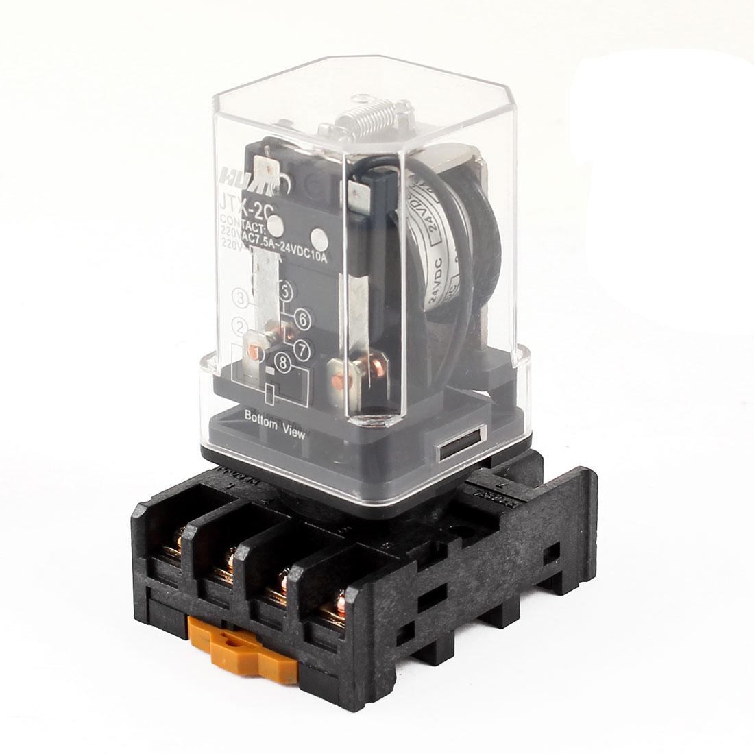 цена на Jtx-2C Clear Plastic Shell 24V Coil Dpdt 8 Pins Electromagnetic Relay 35Mm Din Rail Socket Base Power Supplies Relays