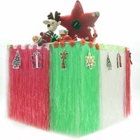 Colorful Plastic Luau Table Fringe Multicolored Flower Table Skirt Home Christmas Outdoor Camping Garden Party DIY
