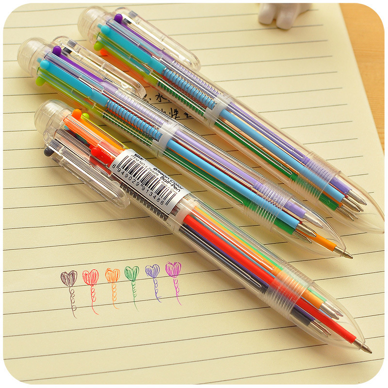 Multi 6 Colors In One Set Ball Point Ballpoint Pen For Writing School Office Supplies Stationery Kids in Ballpoint Pens from Office School Supplies