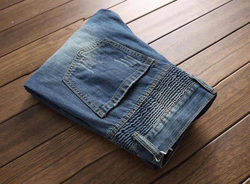 2018 новые дизайнерские мужские джинсы синего цвета облегающие в стиле панк хип-хоп рваные джинсы хлопковые брюки брендовые рваные мужские байкерские джинсы