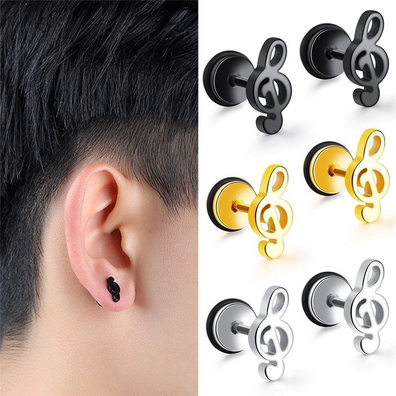 Imixlot 1 Pair Tide Mini Note Stainless Steel Ear Piercings Women Men Accessories Black Gold Puncture Body Jewelry Aliexpress