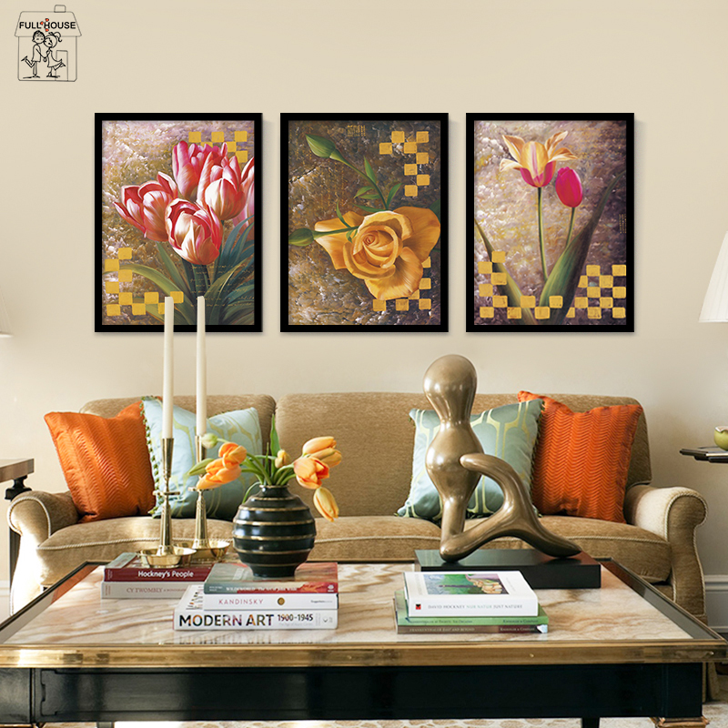 Frameless Canvas Art Oil Painting Flower Painting Design: FULL HOUSE Color Flower Frameless Canvas Painting Spray