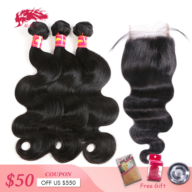 Ali Queen Hair Products 3Pcs Brazilian Body Wave Remy Hair Bundles With 4x4 Lace Closure Free/Middle Part Bundles With Closure