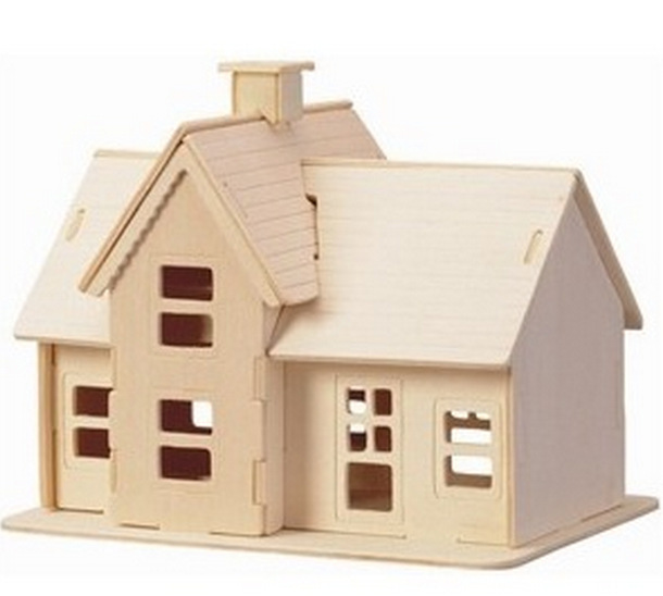 Freeshipping Educational Toys Wooden Build House Miniature Model 3D DIY Country Station Design Scale Models 19.5*14.5*16CM