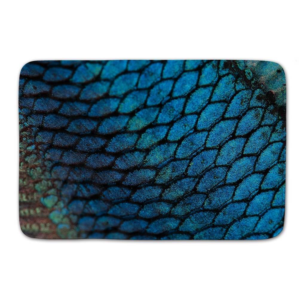 Mermaid doormat, Beach bathroom Decor, Colorful Fish Scale doormat Blue