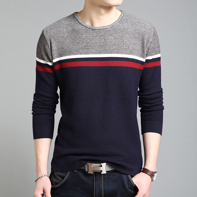 2019 New Fashion Brand Sweaters Mens Pullovers Striped Slim Fit Jumpers Knitwear Jacquard Winter Korean Style Casual Men Clothes