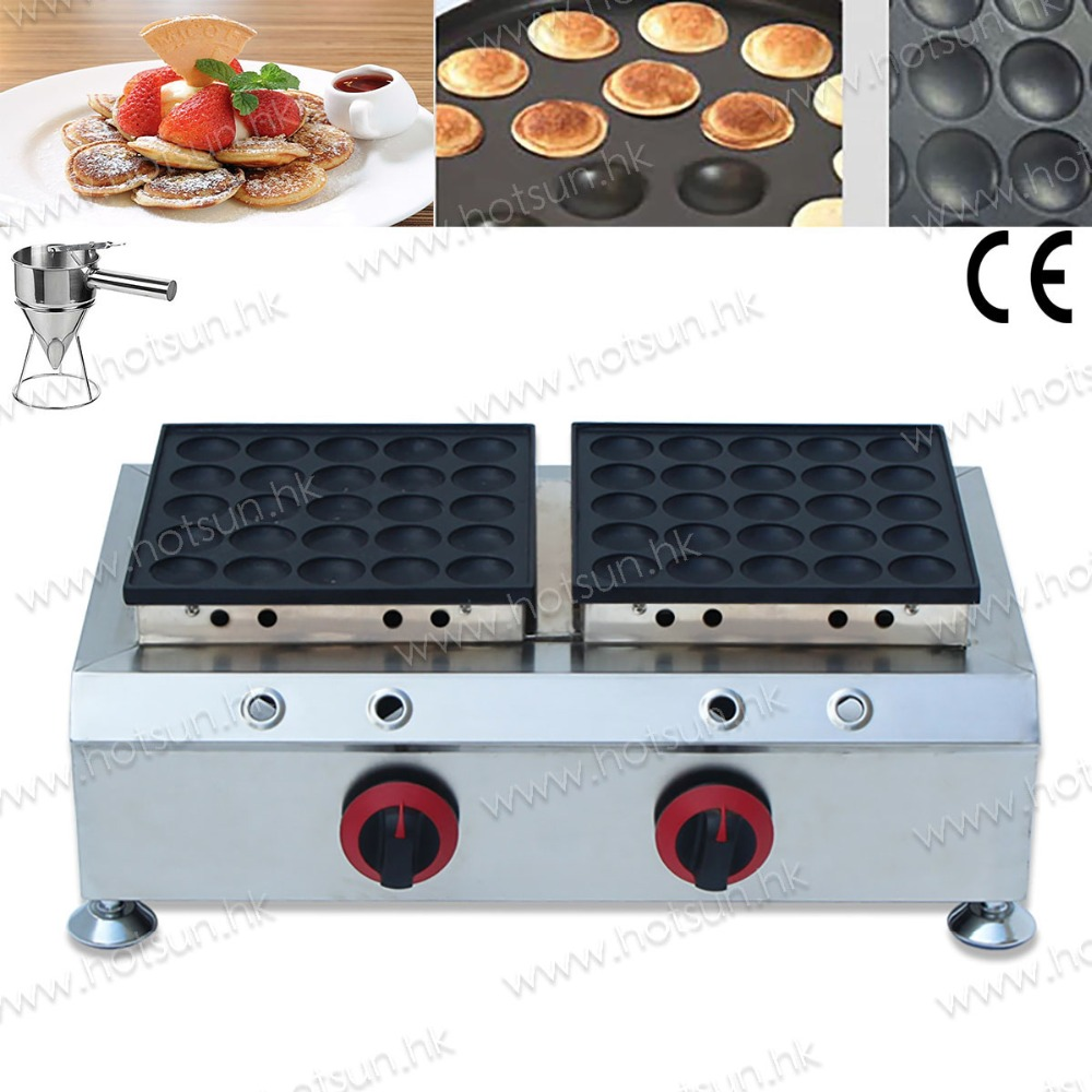 2 in 1 Commercial Non-stick LPG Gas Dual 50pcs Mini Dutch Pancake Poffertjes Maker Machine Baker + Batter Dispenser 2 in 1 non stick lpg gas dutch mini pancakes poffertjes dorayaki maker machine baker batter dispenser