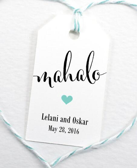 personalized printed mahalo hawaiian luau party favor tags wedding welcome gift tag bridal shower bachelorette booking cards in cards invitations from