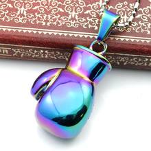 Colorful Fist Pendant Necklace Jewelry Boxing Glove Stainless Steel Cool Pendulum Boxing