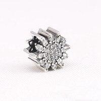 Fits Pandora Bracelets inverno Pave AAA Zircon de floco encantos 925 de prata para mulheres pulseiras DIY Sterling - silver - j