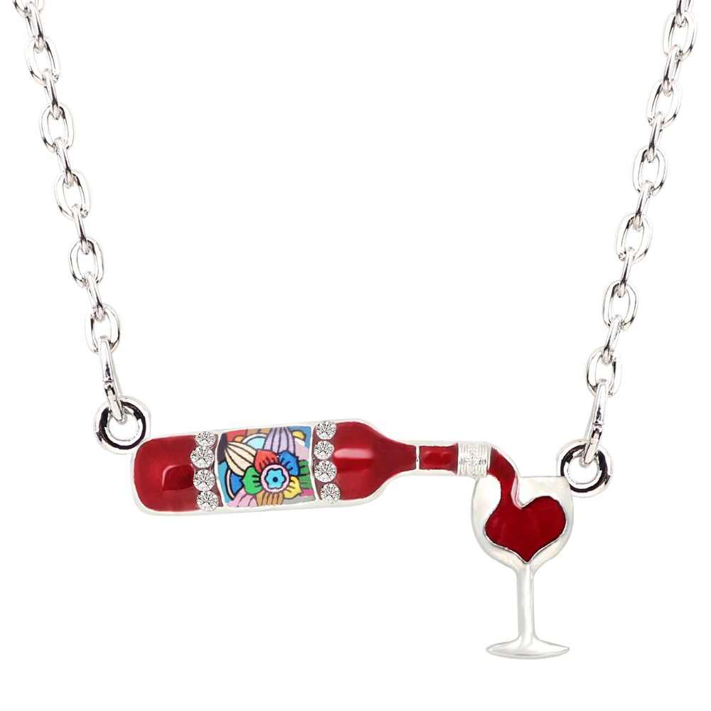 Bonsny Statement Enamel Floral Red Wine Bottle Glass Necklace Chain Alloy Rhinestone Pendant For Women Girls Party Jewelry Gift